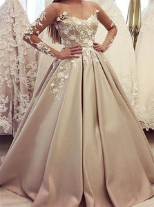 Long Sleeves Floor Length Satin Champagne Prom Dresses