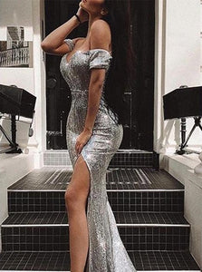 Off the Shoulder Side Slit Sparkle Sequins Prom Dresses