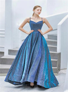 Ball Gown Spaghetti Blue Satin Sequins Prom Dresses