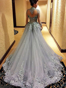 Open Back Tulle Sweep Train Prom Dresses