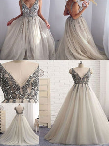 A Line Sleeveless Silver Open Back Tulle Beadings Prom Dresses
