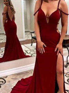Mermaid Open Back Sweep Train Burgundy Prom Dresses