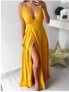 A Line V Neck Satin Yellow Prom Dresses with Sweep Train