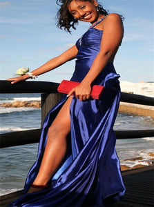 Sleeveless Sweep Train Navy Blue Slit Prom Dresses