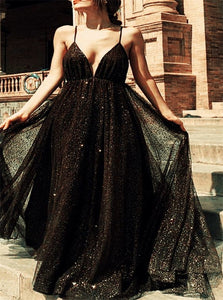 Black Sequins Tulle Prom Dress LBQ1335