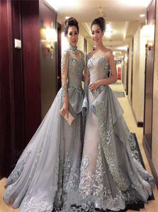 Ball Gown Long Sleeves Grey High Neck Prom Dresses