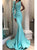One Shoulder Long Sleeves Mermaid Satin Blue Prom Dresses with Beadings
