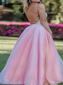 Pink Tulle V Neck Backless Prom Dresses with Silver Beadings