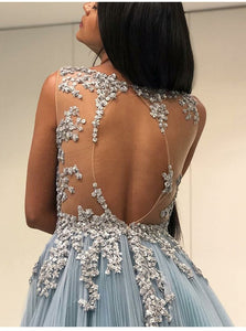 A Line Scoop Open Back Tulle Floor Length Prom Dresses