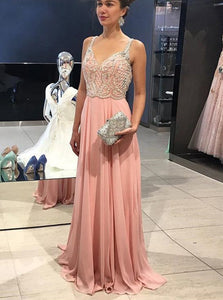 Peach Chiffon Beading Open Back A Line Prom Dresses