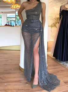 A Line Sequin Tulle One Shoulder Slit Prom Dresses