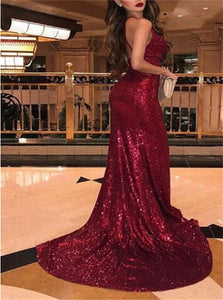 Mermaid Red V Neck Sleeveless Sequins Floor Length Prom Dresses
