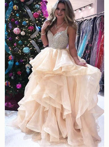 A Line V Neck Beadings Tulle Prom Dresses with Layers