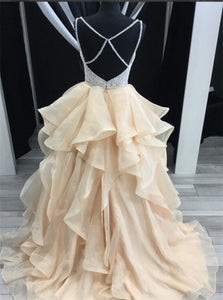A Line V Neck Beadings Tulle Champagne Prom Dresses with Layers