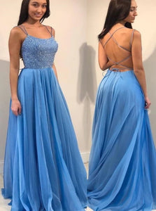 A Line Satin Sweep Train Beadings Criss Cross Prom Dresses