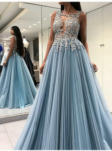 A Line Scoop Open Back  Blue Prom Dresses with Appliques