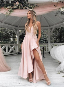 A Line V Neck Pink Satin Asymmetrical Prom Dresses with Pleats