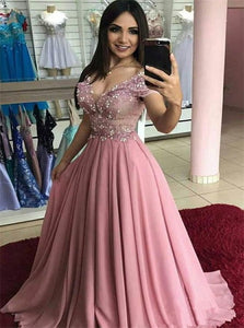 A Line V Neck Short Sleeves Prom Dresses with Sweep Train