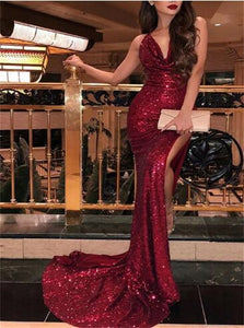 Mermaid Red V Neck Sleeveless Sequins Prom Dresses