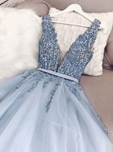 Blue V Neck Tulle Open Back Sweep Train Prom Dresses