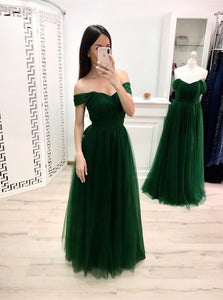 A Line Off the Shoulder Tulle Green Prom Dresses