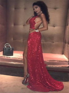 Red Sequins Sweep Train Prom Dresses