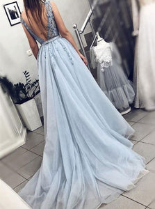 A Line Blue V Neck Tulle Beadings Prom Dresses