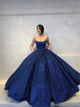 Ball Gown Spaghetti Straps Blue Sequins Prom Dresses