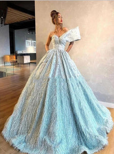 Ball Gown Sweetheart Blue Satin Prom Dresses