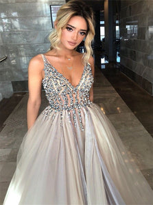 A Line V Neck Tulle Silver Prom Dresses with Beadings
