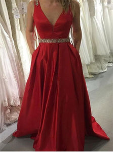 A Line V Neck Sleeveless Prom Dresses with Pockets