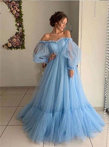 A Line Tulle Off the Shoulder Puffy Sleeves Pleats Floor Length Prom Dresses