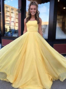 Yellow Spaghetti Straps Chiffon Lace Up Prom Dresses with Pleats