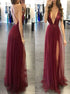 Sequins Spaghettis Straps V Neck Slit Tulle Prom Dress LBQ1642