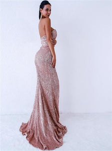 Mermaid Sweetheart Sequin Sweep Train Prom Dresses with Slit