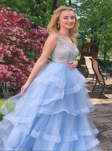 A Line Sequins Sky Blue Tulle Long Prom Dresses