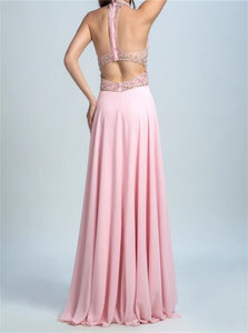 Open Back Pink Prom Dresses