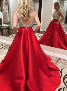 A Line V Neck Beadings Red Satin Prom Dresses