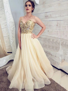 A Line Spaghetti Straps Appliques Sleeveless Yellow Prom Dresses