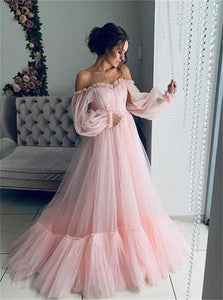 Pink Tulle Off the Shoulder Puffy Sleeves Pleats Prom Dresses