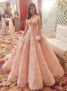 Ball Gown Short Sleeves Pink Lace Prom Dresses With Appliques
