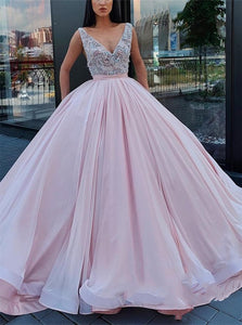 Ball Gown V Neck Purple Prom Dresses with Beadings