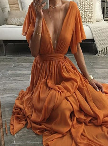 Chiffon V Neck A Line Prom Dresses with Pleats