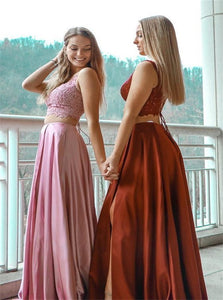 Two Piece A Line Satin and Lace Pink Prom Dresses with Slit