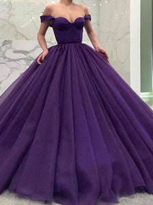 Purple Tulle Off the Shoulder Ball Gown Short Sleeves Prom Dresses