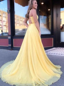 A Line Chiffon Lace Up Prom Dresses with Sweep Train