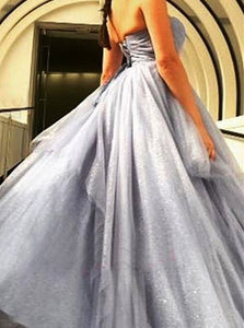 Ball Gown Grey Sequin Tulle Sweetheart Prom Dresses