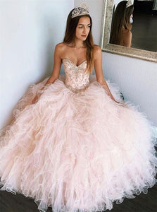 Pink Sweetheart Beadings Ball Gown Tulle Floor Length Prom Dresses