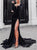 Sweep Train Black Velvet Prom Dress with Slit