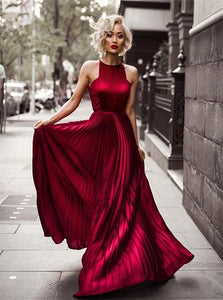 A Line Satin Sleeveless Pleats Red Sweep Train Prom Dresses